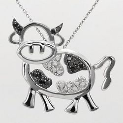 Sterling Silver Black and White Diamond Cow Pendant