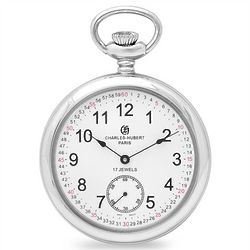 Personalized Silver Mechanical Railroad Style Pocket Watch