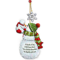 My Merry First Christmas Personalized Snowpeople Ornament