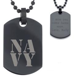Black Stainless Steel Engraved Navy Tag Pendant