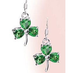 Sterling Silver Emerald CZ Shamrock Earrings