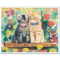 Personalized Cats in the Garden Art Print