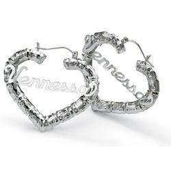 Sterling Silver Personalized Bamboo Heart-Shaped Hoop Earrings