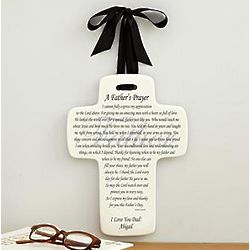 Personalized Father's Day Prayer Ceramic Cross