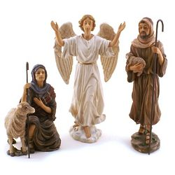Shepherds and Angel Nativity Set