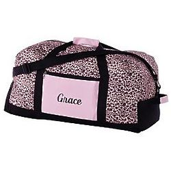 Personalized Pink Leopard Print Duffle Bag