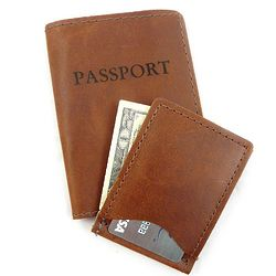Leather Passport and Money Clip Travel Set