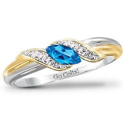 Pride of Indianapolis Topaz Engraved Embrace Ring