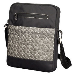 Pewter and Black Sherpani Tablet Shoulder Bag