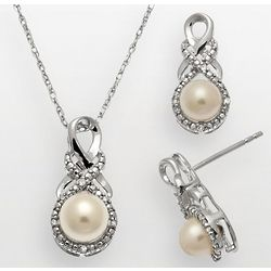 Freshwater Pearl and Diamond Accent Swirl Pendant and Earring Set