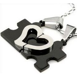 Couple's Stainless Steel Puzzle Heart Pendant