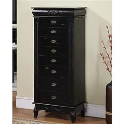 Tall Black Jewelry Armoire with 8 Drawers