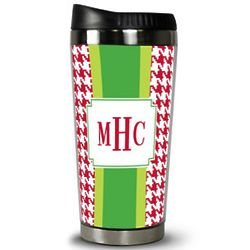 Personalized Red Houndstooth Travel Tumbler