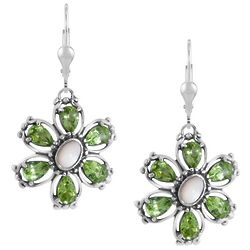 Green Peridot and Mother of Pearl Flower Earrings