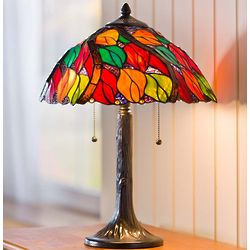 Tiffany-Style Stained Glass Autumn Leaves Table Lamp