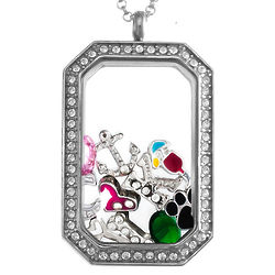 CZ Dog Tag Floating Locket with Charms