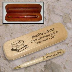 Personalized School Memories Wooden Pen & Case Set