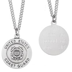 U.S. Coast Guard Military Sterling Silver Engraved Medal Pendant