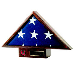 Personalized Wooden Flag Display Case