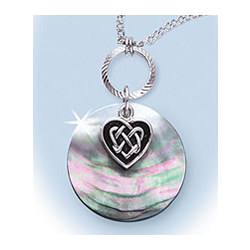Celtic Heart and Mother of Pearl Pendant Necklace
