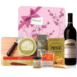 Gourmet Wine & Cheese Board with Blossom Gift Wrap