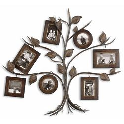 Distressed Dark Walnut Photo Frame Tree Wall Art
