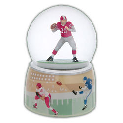 Football Player Musical Water Globe