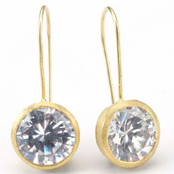 18K Gold Clad Cubic Zirconia Drop Earrings