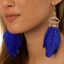 Whimsical Jeweled Feather Dangle Earrings