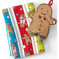 Gingerbread Kitchen Towel and Potholder Set