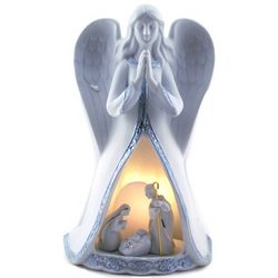 Lighted Praying Angel with Holy Family