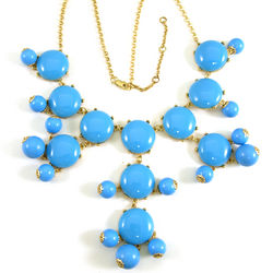 Light Blue Bubble Bib Statement Necklace