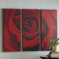 3-Piece Red Rose Art Set