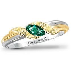 Pride of the Packers Emerald Engraved Embrace Ring