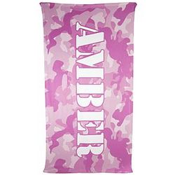 Kid's Pink Camo Personalized Micro-Fiber Beach Towel