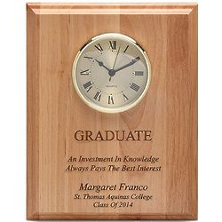 Graduate's Wood Wall Clock Plaque