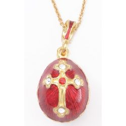 Ruby Red Faberge Style Egg Pendant
