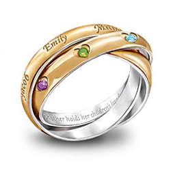 A Heartfelt Bond Personalized Birthstone Trinity Ring