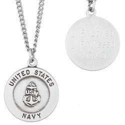 U.S. Navy Military Sterling Silver Engraved Medal Pendant