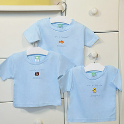 Personalized Set of 3 Baby Tees in Blue