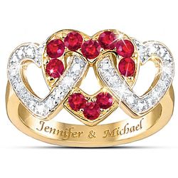 Love's Embrace Diamond & Ruby Ring