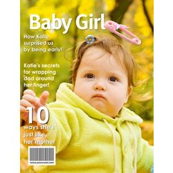 Baby Girl Personalized Magazine Cover Digital Print