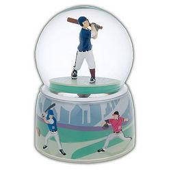 Baseball Player Water Globe