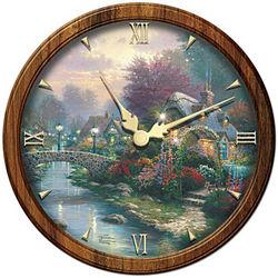 Thomas Kinkade Lamplight Bridge Wall Clock