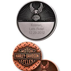 Harley Davidson Personalized Diamond Cut Coin