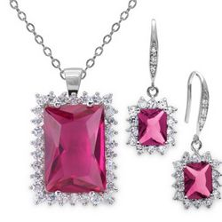 18 Carat Simulated Pink Sapphire Earring and Necklace Set