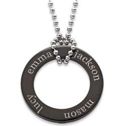 Black Titanium Family Name Engraved Disc Necklace