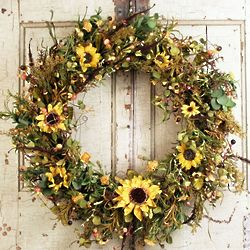 Fall Silk Sunflowers Front Door Wreath