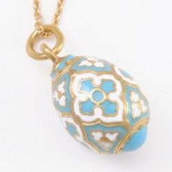 Enameled and Gold-Gilded Faberge Style Egg Pendant