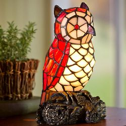 Tiffany-Style Stained Glass Owl Accent Lamp